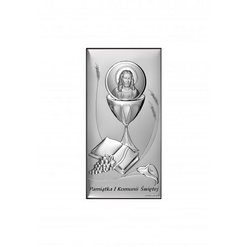 Obrazek srebrny-PAMIĄTKA PIERWSZEJ KOMUNII ŚWIĘTEJ 6681S/2X