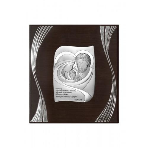 Obrazek srebrny Święta Rodzina Z NAPISEM NA PANELU 6724F/2X