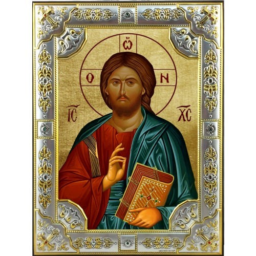 Ikona Srebrna Chrystus Pantokrator IKR A-07