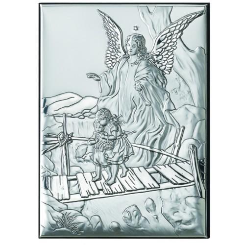 Obrazek srebrny  Aniołek z dziećmi na kładce 81202 4
