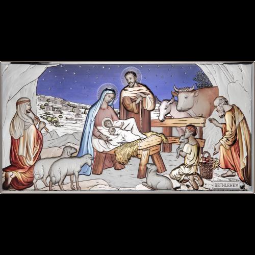 Obrazek srebrny Szopka Bożonarodzeniowa - KOLOROWA AE0293/1D