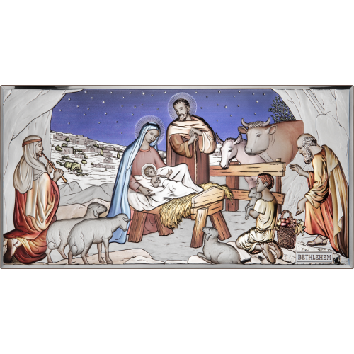 Obrazek srebrny Szopka Bożonarodzeniowa - KOLOROWA AE0293/3D