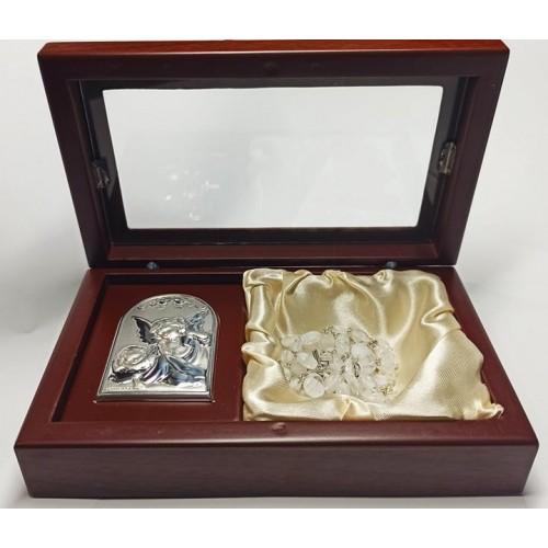 SZKATUŁKA srebrny obrazek+różaniec AG2544/CR101