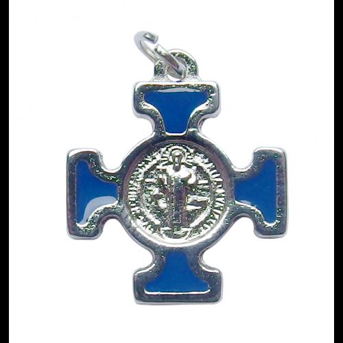 Krzyż Benedyktyński Metalowy Niebieski CN2115BL