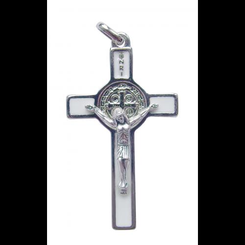 Krzyż Benedyktyński Metalowy Biały CSB50SN/BI
