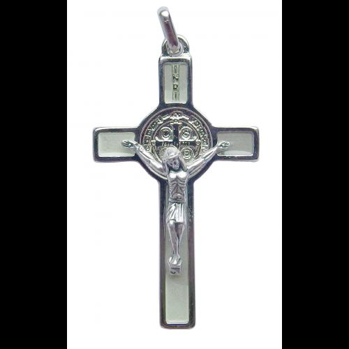 Krzyż Benedyktyński Metalowy Fosforowy CSB50SN/FS