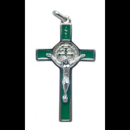Krzyż Benedyktyński Metalowy Zielony CSB50SN/VE