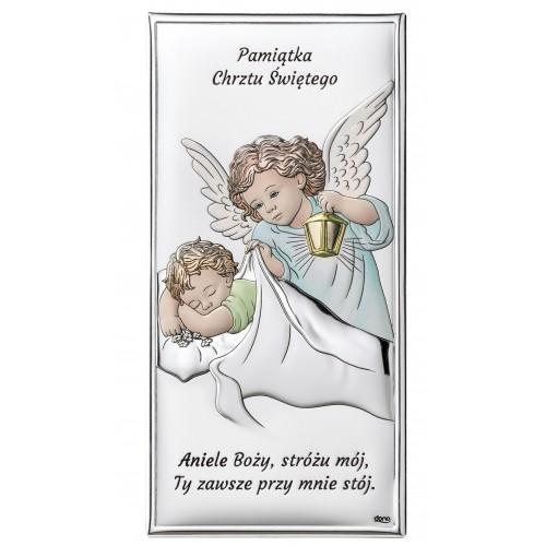 Obrazek Aniołek z latarenką nad dzieciątkiem - KOLOROWY DS01/2C, 8x15 @