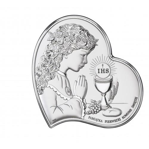 Obrazek srebrny Pamiątka Pierwszej Komunii Świętej DS03/2A, 11x11 @
