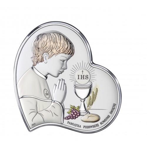 Obrazek srebrny Pamiątka Pierwszej Komunii Świętej DS03/2CO, 11x11 @
