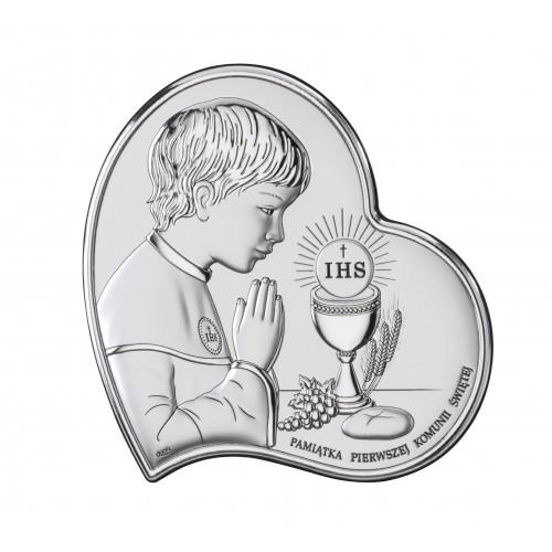 Obrazek srebrny Pamiątka Pierwszej Komunii Świętej DS03/2O, 11x11 @
