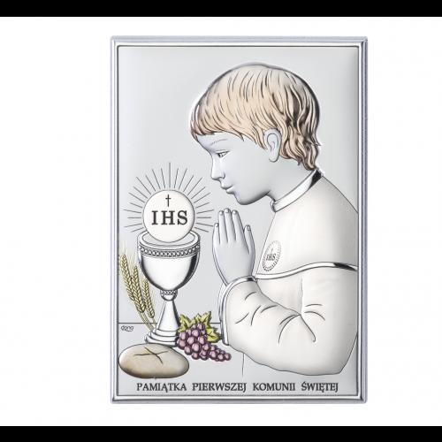 Obrazek srebrny Pamiątka Pierwszej Komunii Świętej DS04/3XCO, 15x21 @