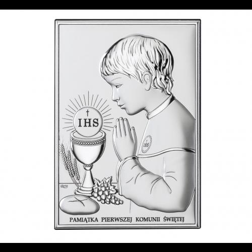 Obrazek srebrny Pamiątka Pierwszej Komunii Świętej DS04/3XO, 15x21 @