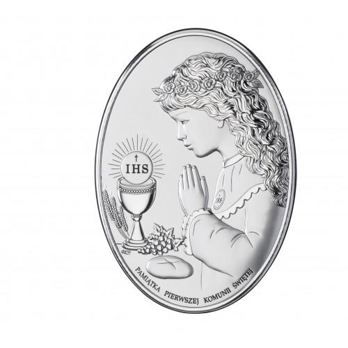 Obrazek srebrny Pamiątka Pierwszej Komunii Świętej DS05/1A, 7x10 @