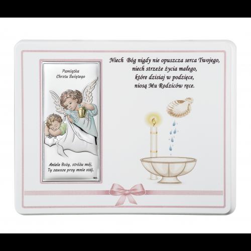 ZDOBIONY Panel NA CHRZEST- Aniołek nad dzieciątkiem Z NAPISEM DS20R/01C