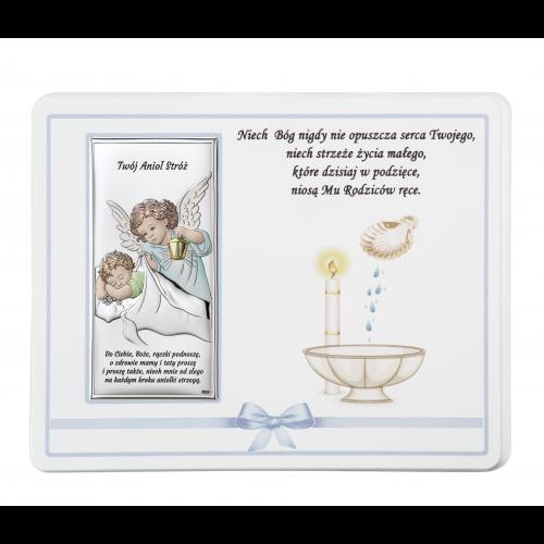 ZDOBIONY Panel NA CHRZEST- Aniołek nad dzieciątkiem Z NAPISEM DS20C/02C
