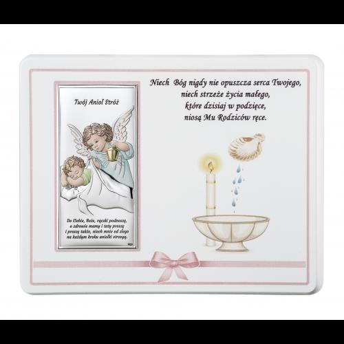 ZDOBIONY Panel NA CHRZEST- Aniołek nad dzieciątkiem Z NAPISEM DS20R/02C