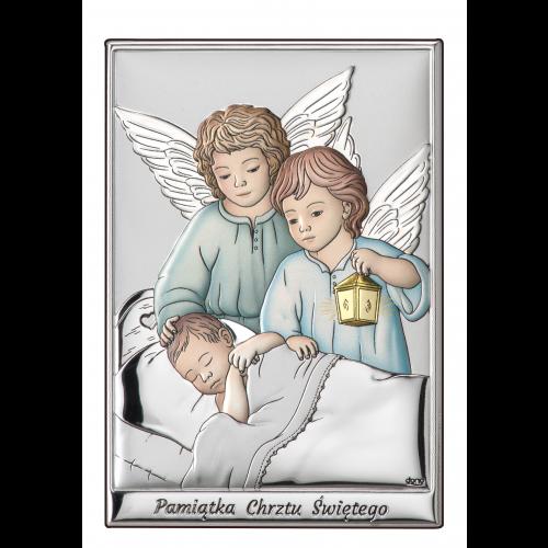Obrazek Aniołki z latarenką nad dzieciątkiem Z NAPISEM-KOLOROWY DS09/1C, 7x10 @