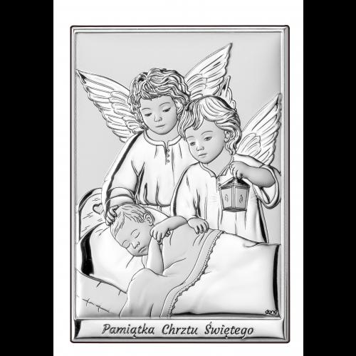 Obrazek Aniołki z latarenką nad dzieciątkiem Z NAPISEM DS09/2, 10x14 @