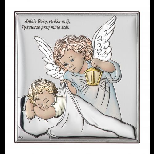 Obrazek srebrny Aniołek z latarenką nad dzieciątkiem-KOLOROWY DS15/3C, 16x16 @