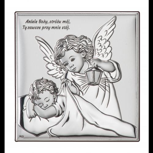 Obrazek srebrny Aniołek z latarenką nad dzieciątkiem DS15/3, 16x16 @