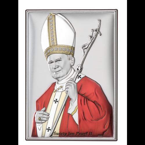 Obrazek srebrny  Święty Jan Paweł II-KOLOROWY DS16/1C