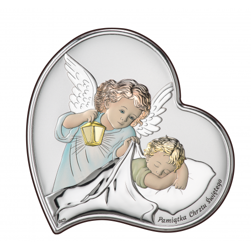Obrazek srebrny Aniołek z latarenką nad dzieciątkiem-KOLOROWY DS17/3C, 17x17 @