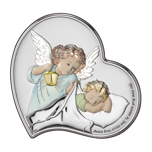 Obrazek srebrny Aniołek z latarenką nad dzieciątkiem - KOLOROWY DS18/2C, 11x11 @