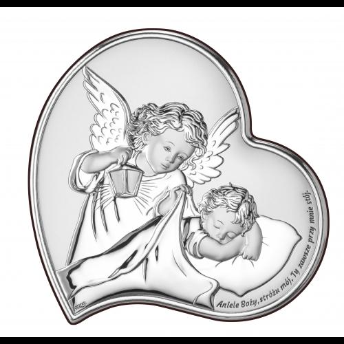 Obrazek srebrny Aniołek z latarenką nad dzieciątkiem DS18/3, 17x17 @