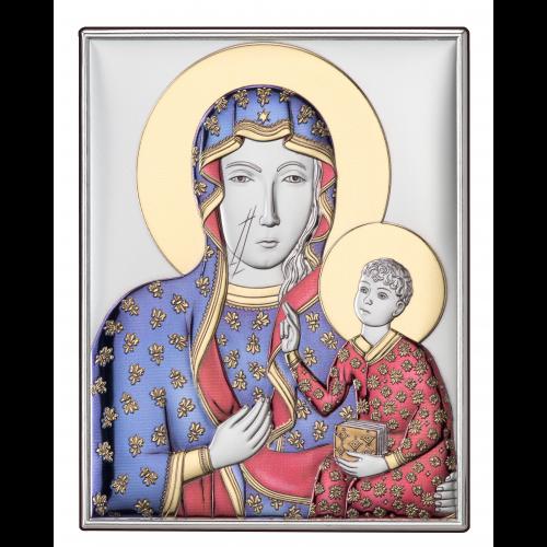 Srebrny obrazek Matka Boska Częstochowska - KOLOROWY DS19/2C