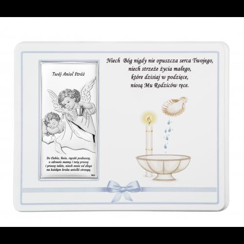 ZDOBIONY Panel NA CHRZEST- Aniołek nad dzieciątkiem Z NAPISEM DS20C/02