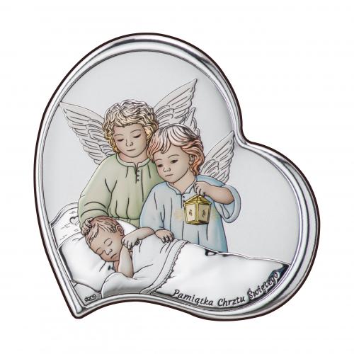 Obrazek srebrny Aniołki z latarenką nad dzieciątkiem KOLOROWE DS23/3C