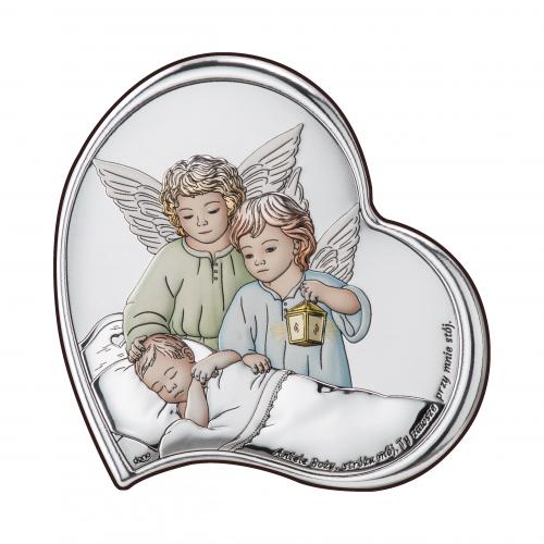 Obrazek srebrny Aniołki z latarenką nad dzieciątkiem KOLOROWE  DS24/3C