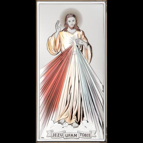 Obrazek srebrny Jezu Ufam Tobie - KOLOROWY  DS26/2C