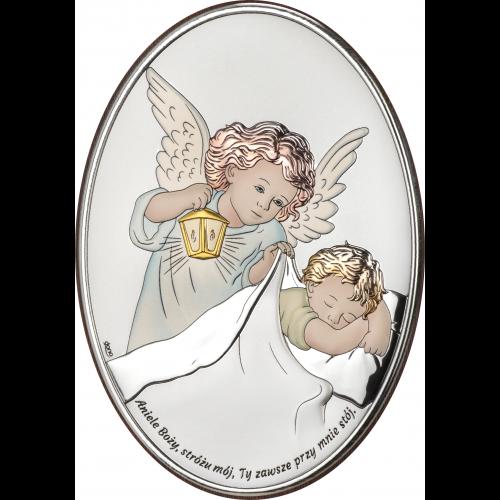 Obrazek srebrny Aniołek nad dzieckiem - KOLOROWY DS28/1C