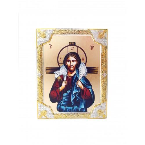 Ikona Srebrna Chrystus Dobry Pasterz IK1B-06SZR